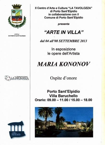 Arte in Villa con Maria Kononov ospite d'onore.