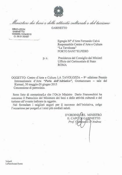 Patrocinio Ministero Beni e Attività Culturali.